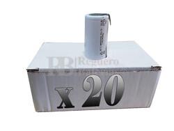 Caja de 20 Baterías Sub-c 1.2 Voltios 2.000 mah con lengüetas para reparación de taladros