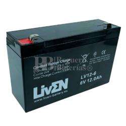 Batería 6 Voltios 12 Amperios Liven Battery LV12-6
