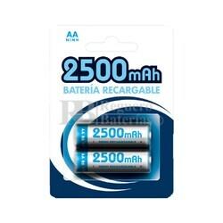 2 Baterías recargables 2500mAh AA Ni-Mh