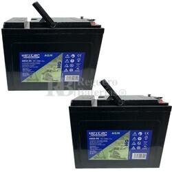 2 Baterías Sillas Movilidad 12 Voltios 55 Amperios Carbon Gel