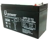 Batería para Ascensores 12 Voltios 7.2 Amperios U-POWER UP7.2-12