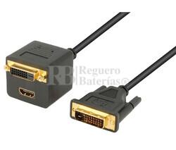 Adaptador DVI-D macho a DVI-D+HDMI hembras