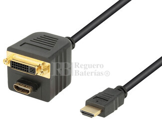 Adaptador HDMI macho a HDMI+DVI-D hembra