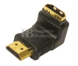Adaptador HDMI macho - hembra acodado versión Dch.