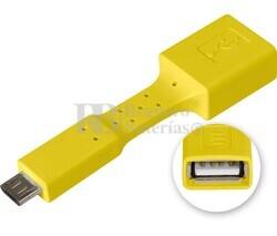 Adaptador USB-A hembra a micro USB macho, OTG móviles amarillo