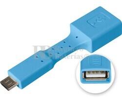 Adaptador USB-A hembra a micro USB macho, OTG móviles azul