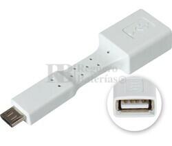 Adaptador USB-A hembra a micro USB macho, OTG móviles blanco