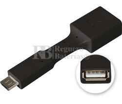 Adaptador USB-A hembra a micro USB macho, OTG móviles negro