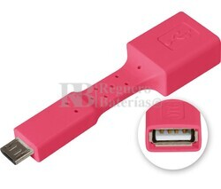 Adaptador USB-A hembra a micro USB macho, OTG móviles rojo
