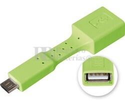 Adaptador USB-A hembra a micro USB macho, OTG móviles verde