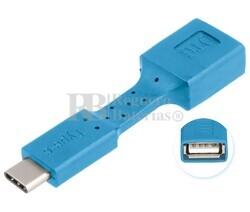 Adaptador USB-A hembra a USB-C macho, OTG móviles azul