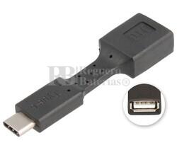 Adaptador USB-A hembra a USB-C macho, OTG móviles negro