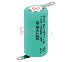 Batería recargable 1/2 AA, 2/3AA 1.2 Voltios 600 mAh C/Lengüetas