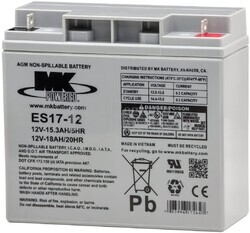 Bateria 12 Voltios 17 Amperios MK ES17-12