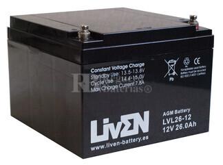 Batería 12 Voltios 26 Amperios LVL26-12 Larga Vida