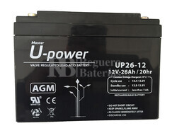 Batería 12 Voltios 26 Amperios U-Power UP26-12