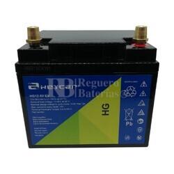 Batería Gel 12 Voltios 50 Amperios conexión borne automoción