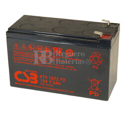 Batería 12 Voltios 7,2 Amperios Alta Temperatura CSB XTV1272 F2
