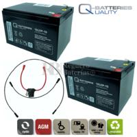 Batería 24 Voltios Movilidad 15 Amperios C/Cables Q-Batteries