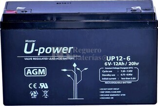 Batería 6 Voltios 12 Amperios U-power UP12-6