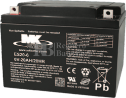 Batería 6 Voltios 20 Amperios MK ES20-6