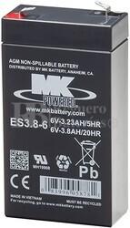 Bateria 6 Voltios 3,8 Amperios MK ES3.8-6