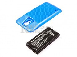 Bateria para Galaxy S5, Li-ion, para telefonos SAMSUNG, 3,85V, 5600mAh, 21,6Wh, con tapa color Azul, without IP67 protection