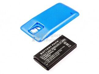 Bateria para Galaxy S5, Li-ion, para telefonos SAMSUNG, 3,85V, 5600mAh, 21,6Wh, con tapa color Azul, without IP67 protection