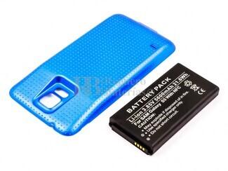 Bateria para Galaxy S5, para telefonos SAMSUNG Li-ion, 3,85V, 5600mAh, 21,6Wh, with NFC, Tapa color Azul, without IP67 protection