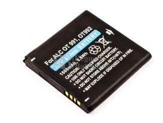 Bateria  OT 991, OT 992, para telefonos Alcatel, Li-ion, 3,7V, 1500mAh, 5,6Wh