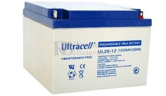 Batería de Agm Ultracell UL26-12 12 Voltios 26 Amperios  166,5mm x 175mm x 125mm