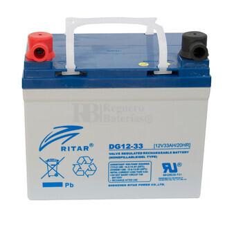 Batería de Gel Deep Cycle Ritar 12 Voltios 33 Amperios ( 195 x 130 x 180 mm )