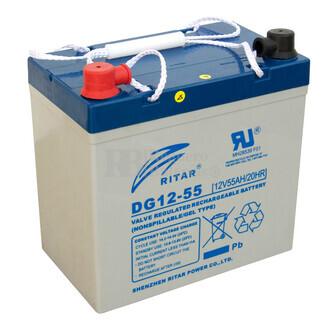 Batería de Gel Deep Cycle Ritar 12 Voltios 55 Amperios ( 229 x 138 x 210 mm )