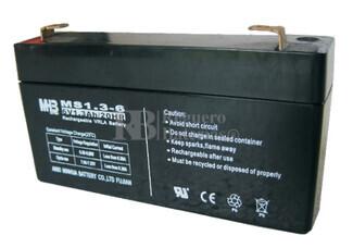 Bateria de Plomo MHB  6 Voltios 1.3 Amperios MS1.3-6 97x24x52mm