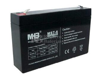 Bateria de Plomo MHB MS7-6 6 Voltios 7 Amperios 151X34X95mm