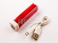 Batería Externa Power Bank Litio-Ion 2200mAh, 8,2Wh Color Rojo