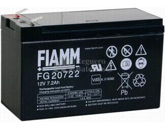 Batería 12 Voltios 7,2 Amperios FIAMM FG20722