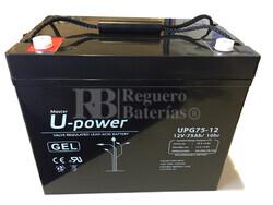 Batería Gel 12 Voltios 75 Amperios U-power UPG75-12