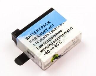 Batería para cámara  GoPro Hero 4  Li-ion, 3,7V, 1000mAh, 3,7Wh, baja temperatura