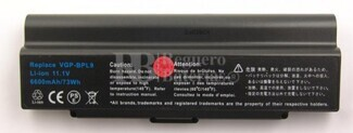 Bateria larga duración para Sony Vaio VGP-BPL9C, VGP-BPS9-B, VGP-BPL9, VGP-BPS9B