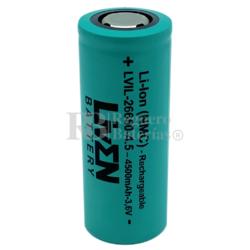 Batería Litio 26650 3.6 Voltios 4.500 mAh