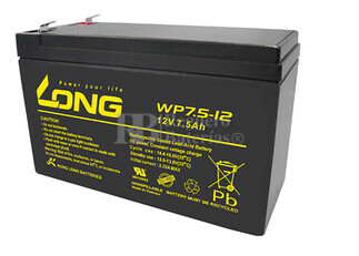 Bateria LONG AGM de 12 Voltios 7,5 Amperios WP7.5-12(Faston 6,35) 151x65x94 mm
