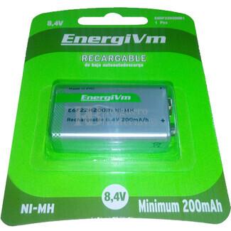 Pila Recargable 9 Voltios 200 mAH ENERGIVM H9VE U-E25 (baja auto-descarga)