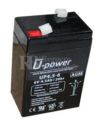 Batería para Alarma Ademco 25389 6 Voltios 4,5 Amperios
