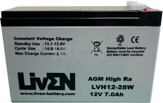 Batería para ascensor 12 Voltios 7 Amperios LVH12-28W