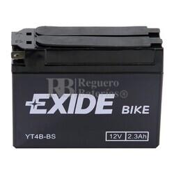 Batería para Moto EXIDE 12 Voltios 2,3 Amperios ET4B-BS - YT4B-BS  113mm x 38mm x 85mm