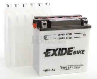 Batería para Moto EXIDE 12 Voltios 9 Amperios EB9L-A2 - YB9L-A2  135mm x 75mm x 139mm