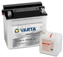 Batería para Moto VARTA 12 Voltios 16 Ah en C10 PowerSports Freshpack Ref.516015016 YB16B-A / YB16B-A1  EN 200 A 158x89x162
