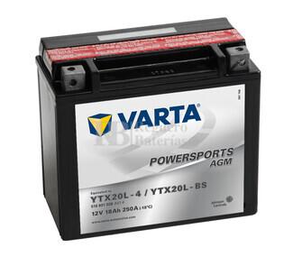 Batería para Moto VARTA 12 Voltios 18 Ah en C10 PowerSports AGM Ref.518901026 YX20L-4 - YTX20L-BS EN 250 A 177x88x156