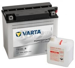 Batería para Moto VARTA 12 Voltios 19 Ah en C10 PowerSports Freshpack Ref.519011019 YB16L-B EN 240 A 176x101x156